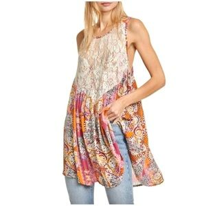 NWT Free People Floral Tunic Tank Top beach